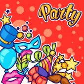 Celebration party card with carnival icons and objects