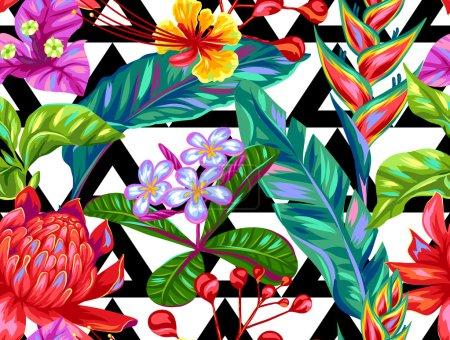 Illustration pour Modèle sans couture avec des fleurs de Thaïlande. Plantes, feuilles et bourgeons multicolores tropicaux . - image libre de droit