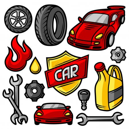 Set of car repair service objects and items