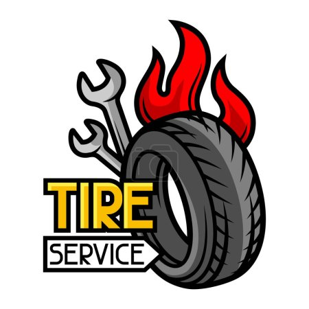 Tire service business illustration. Repair concept for advertising