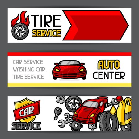Car repair banners design with service objects and items