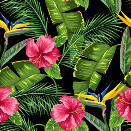 Illustration for Seamless pattern with tropical leaves and flowers. Palms branches, bird of paradise flower, hibiscus. - Royalty Free Image