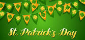 Saint Patricks Day seamless pattern Garland flags with clover