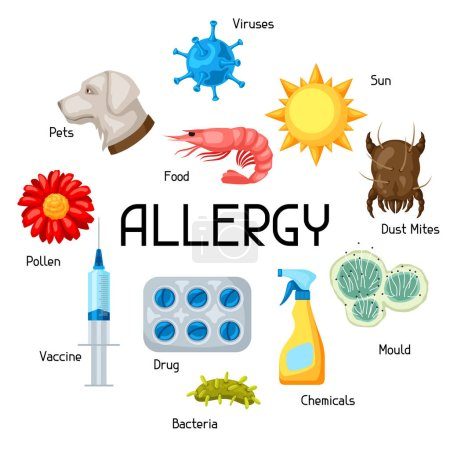 Allergy. Background with allergens and symbols. Vector illustration for medical websites advertising medications