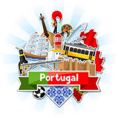 Portugal background with stickers Portuguese national traditional symbols and objects