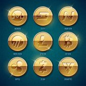 Set of golden cryptocurrency coins Vector illustration