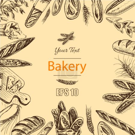 illustration sketch - bakery. loafs, baguettes
