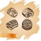 illustration sketch - bakery buns puffs