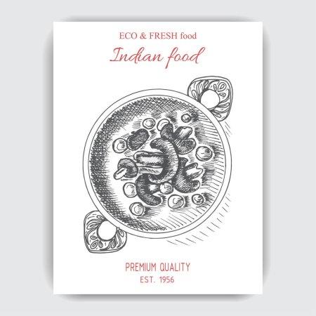 Illustration pour Illustration vectorielle croquis - nourriture orientale. Menu carte asiatique vintage modèle de conception, bannière . - image libre de droit