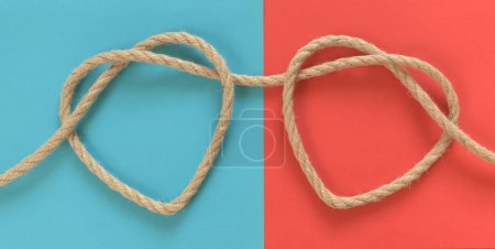 Two heart shapes from rope