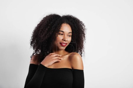 Photo for Studio shoot of black woman with big afro hair - Royalty Free Image