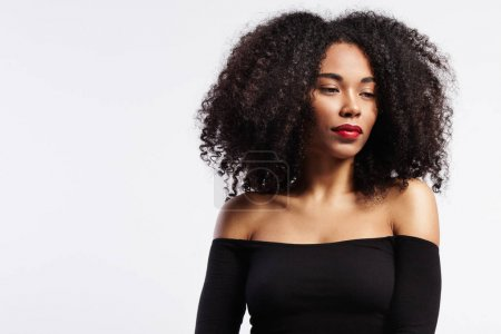 Photo for Beauty black woman portrait with curly hair and red lipstick - Royalty Free Image
