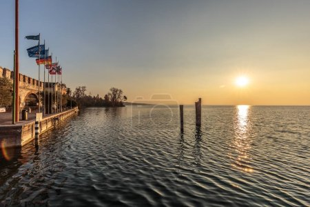 Photo for View of beautiful landscape with pier and sunset on the sea - Royalty Free Image
