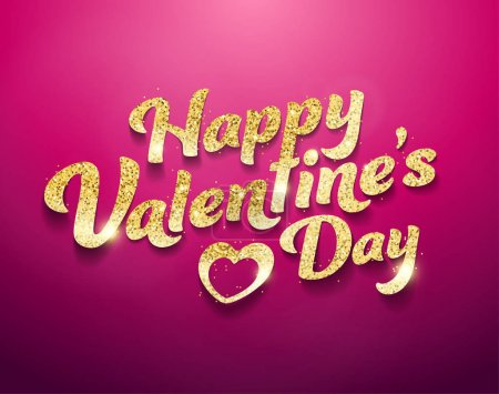 Happy Valentines Day glitter effect vector illustration