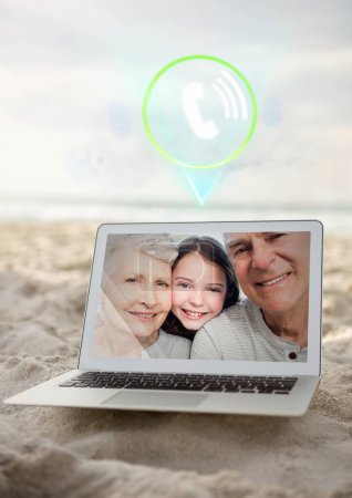 Incoming video call of grandparents and grand daughter