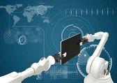 Robot bianco artigli e dispositivo contro interfaccia bianco e sfondo blu