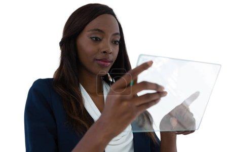 businesswoman using interface screen