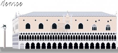 Famous Doge palace and column with winged lion in ...