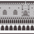 Famous Doge palace and column with winged lion in Venice, Italy