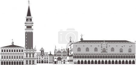 St. Marks Square Campanile and Doges palace arcade...
