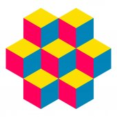 Illusive figure constructed of isometric cubes