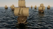 3D Illustration of old wooden warships fleet on the ocean