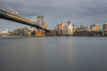 Photo for Sunset view of Manhattan Bridge, New York, NYC, USA - Royalty Free Image