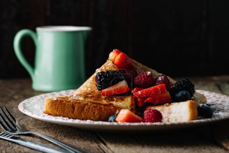 Photo for French toast on a vintage plate, rustic style - Royalty Free Image