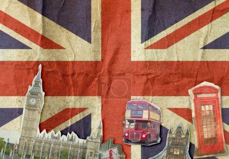 Collage of Big Ben, London Bus