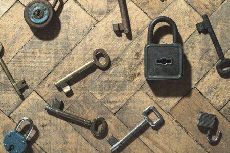 Old padlocks and keys