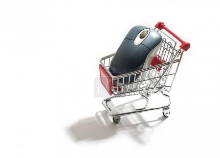Shopping cart and computer mouse.