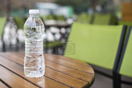 Bottle mineral water on table