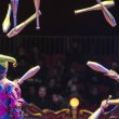 Jugglers in the circus and audience on background...