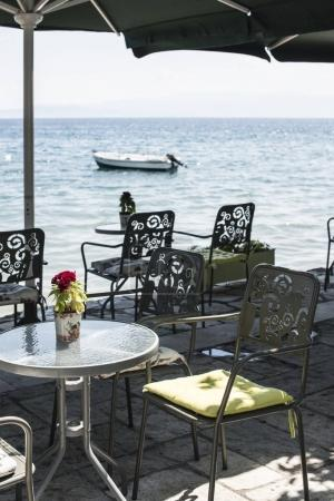Table in outdoor restaurant on the beach