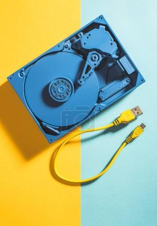 Blue colour hard disc and usb cable