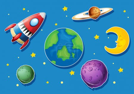 Illustration for Rocket and many planets in space illustration - Royalty Free Image