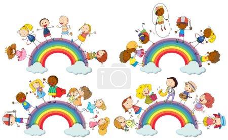 Kids standing on rainbow