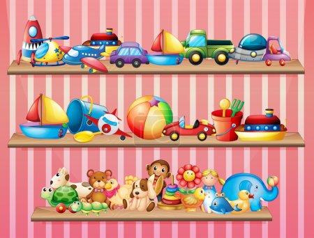 Shelves full of different toys