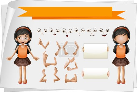 Illustration for Girl with facial and hand expressions illustration - Royalty Free Image