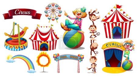 Illustration for Circus set with games and characters illustration - Royalty Free Image