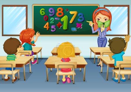 Illustration pour Enseignement des mathématiques en classe illustration - image libre de droit