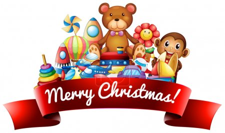 Merry Christmas sign with toys