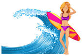 Woman and surfboard by the waves illustration