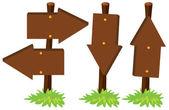 Wooden arrow sign on poles illustration