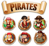 Pirates on round badges illustration