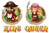 Wikinger-König und die Königin auf Abzeichen