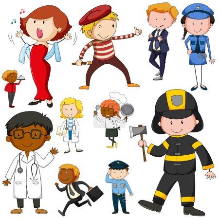 Illustration pour Ensemble de personnes faisant différents travaux illustration - image libre de droit
