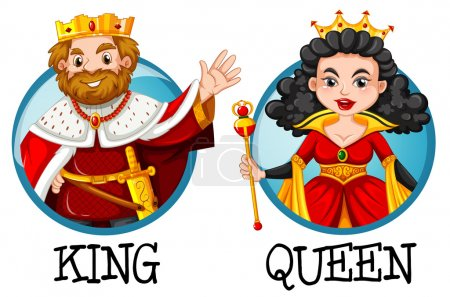 King and queen on round badges