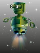 Green robot flying in the space illustration