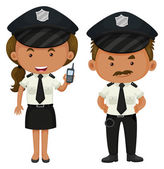 Two police officers in black and white uniform illustration